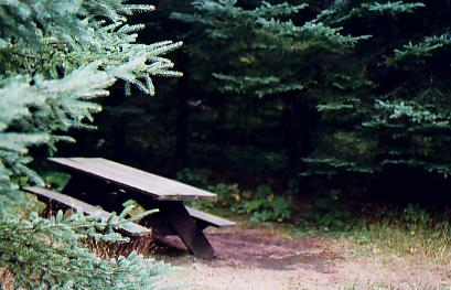 Man made rest area and picnic table on trail.