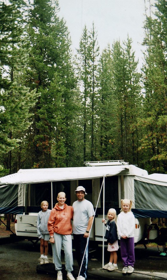 My son's family, last day of the 2007 Yellowstone trip, all still happy, clean but sad to have to leave.