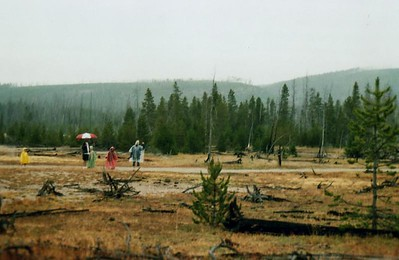 Nope it's not halloween in Yellowstone, just a rainey day in the Artist Paint Pots feature.