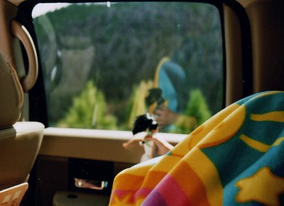 Barbie was observing the scenery and telling GD3 all about it, she's under the blanket. Sometimes the highways on the mountains were just too much to watch.  So Barbie did the narating.