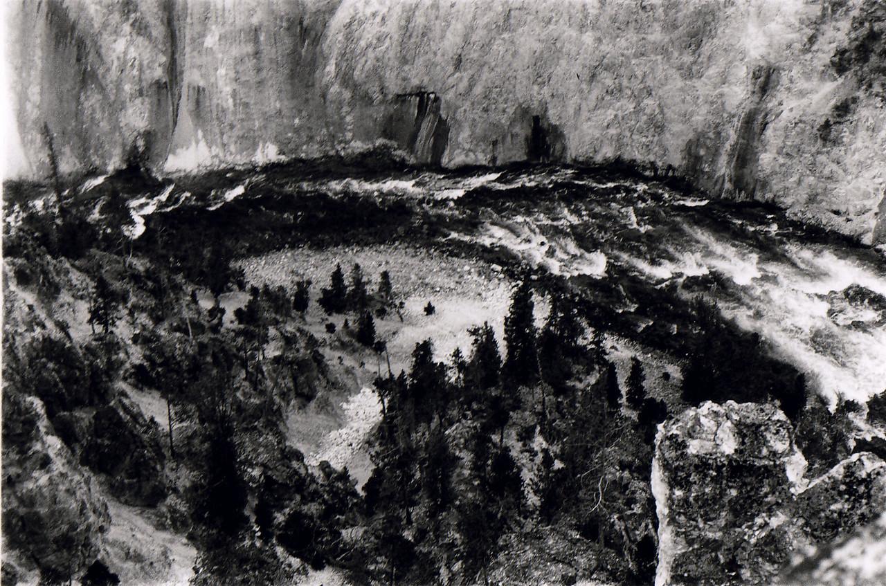 Yellowstone River rambling through Yellowstone's Grand Canyon, eating away at that far wall.