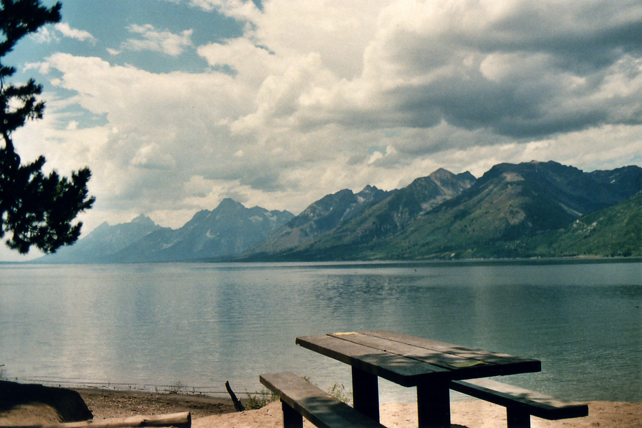 Lewis Lake, view of The Grand Tetons.