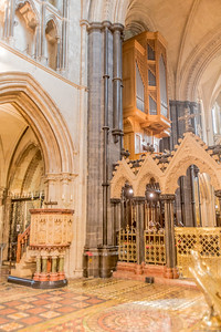 The pulpit and organ in Christchurch Cathedral, Dublin, Ireland.