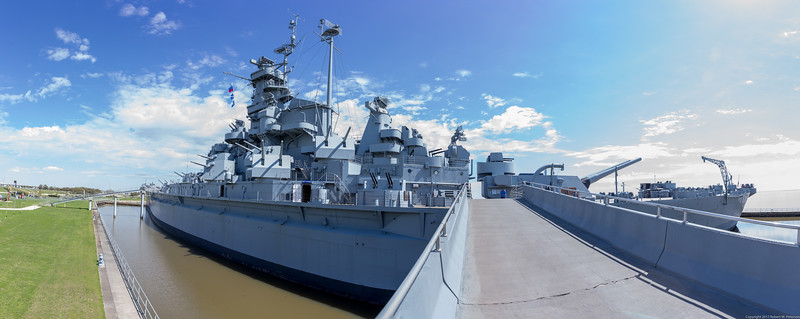 A panoramic view of the Alabama from the entrance ramp on the port side near the stern.