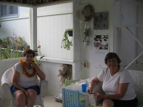 Our friend Joyce brings special leis for Nadine and Janet