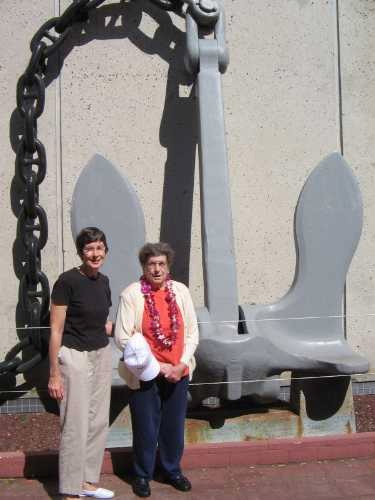 Janet and Nadine with ship's anchor