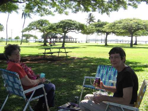 Picnic lunch in park by Pearl Harbor