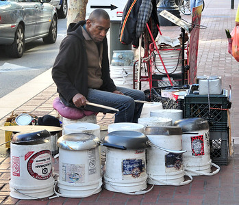 a bucket drummer