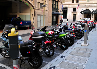 each bike has its own little space, mostly sport bikes (cruiser bikes would be too big to fit)