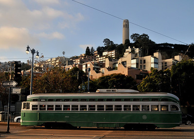 great view of Coit Tower early in the morning from Fisherman's Wharf