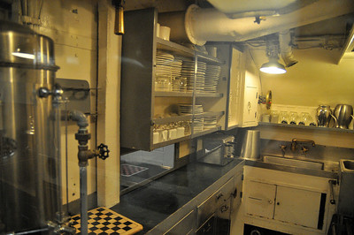 the crew mess, they fed 80 guys out of this tiny kitchen!