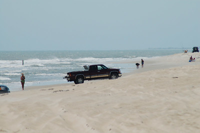 Trucks on the beach in the Ft. Fisher recreation area