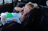 lauren sleeping in the care on okracoke ferry