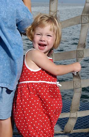 lauren big smile on okracoke ferry