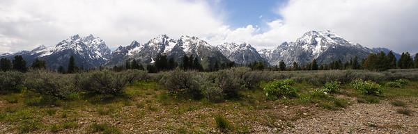 Grand Teton mountain range from Teton Park Rd.