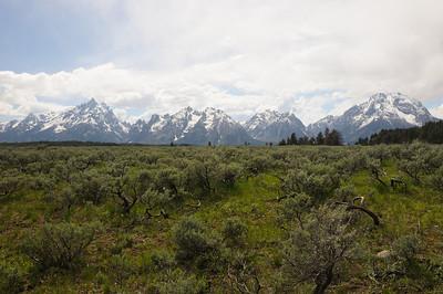 Grand Teton Mountain Range from Potholes Turnout on Teton Park Rd.