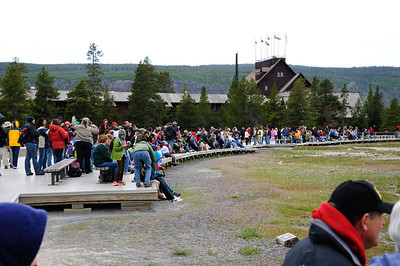 Tourists waiting for Old Faithful  Eruption