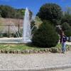 Liz at the fountain in Piazza di Liberta, Siena