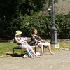 Lovely Ladies sunning at the fountain in Piazza di Liberta, Siena