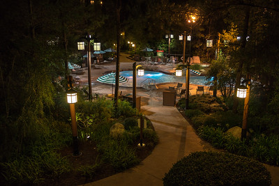The Villas pool at night from our balcony