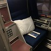 The roomette we upgraded from. The brown thing is a sink/toilet, right next to the seat!