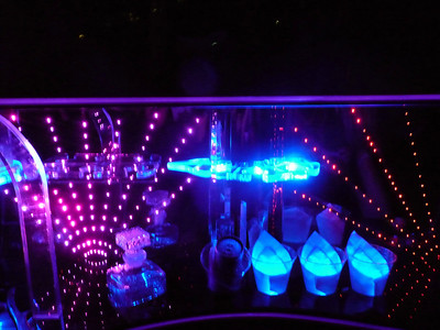 The inside of our Hummer limo at night