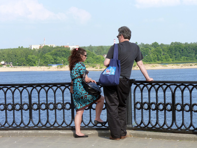 Rustem & Alyssa chatting by the Volga.