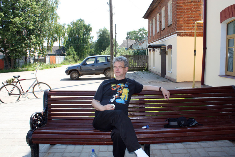 Rustem relaxing in front of our hotel in Vyatskoe.