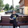 Rustem relaxing in front of our hotel in Vyatskoe.