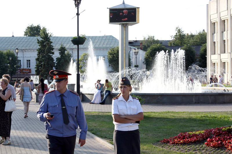 Cops patrolling the streets of Yaroslavl.