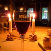 A glass of wine with dinner.