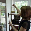 Nina demonstrating how the gilded bird still sings. Oleg has an amazing collection of music boxes, old gramophones, and player pianos all of which still work.