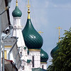 The green domes of Yarolsavl's Elijah the Prophet Church (1647-1650) built from by Siberian fur trading merchants.