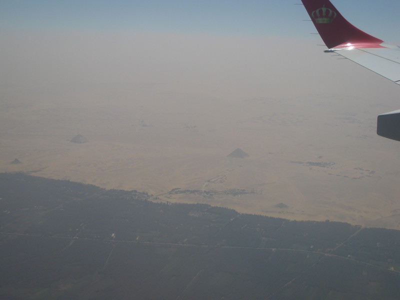 My first look at the pyramids. Wouldn't see them again for a week. The large one on the left is the Bent Pyramid. The large one on the right is the Red Pyramid.