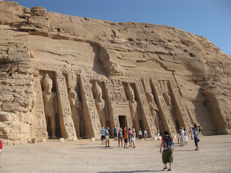 To the right of the Great Temple Of Ramses II is the Temple Of Hathor, dedicated to Queen Nefertari, wife of Ramses.