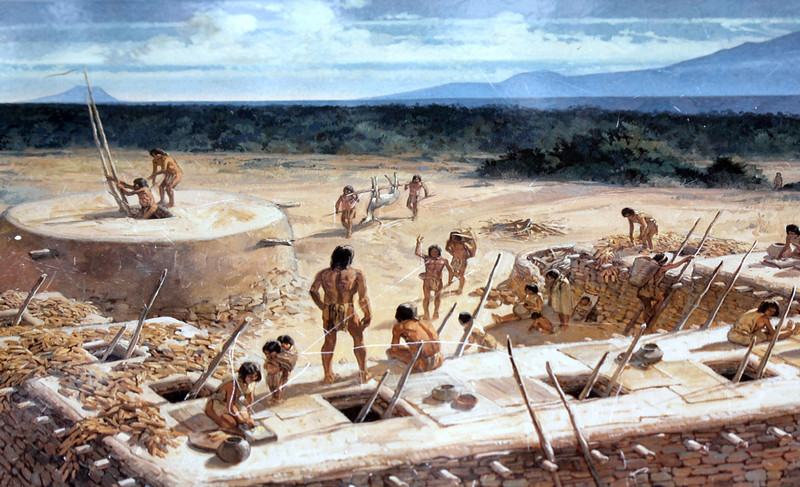 Depiction of the original Tusayan Pueblo. Humans have inhabited the Grand Canyon area for about 4,000 years.