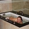 Susan enjoying a soak.