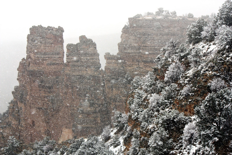 View from Desert View Watchtower during a snowstorm. (Grand Canyon)
