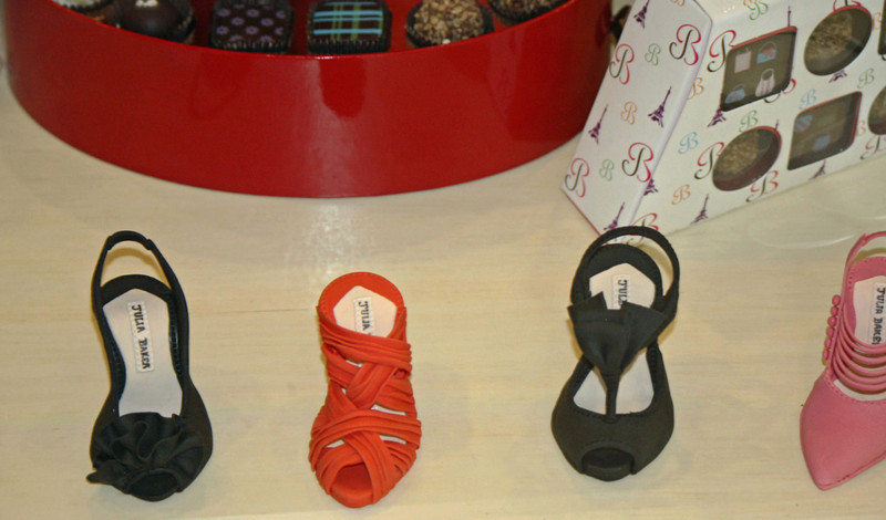 These delightful little shoes are made of sugar. (Julia Baker designer chocolate shop at the Montelucia)