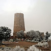The Desert View Watchtower, 26 miles (42 kilometers) east of Bright Angel, was constructed in 1932 as a replica of a prehistoric Anasazi Indian tower.
