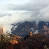 Grand Canyon covers an area of 1,900 square miles, almost 5,000 square kilometers. It's a 200 mile (320 kilometers) drive from the south rim to the north rim, which is closed in the winter due to heavy snow.