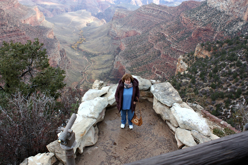 Susan standing on Look Out Point. (Grand Canyon)