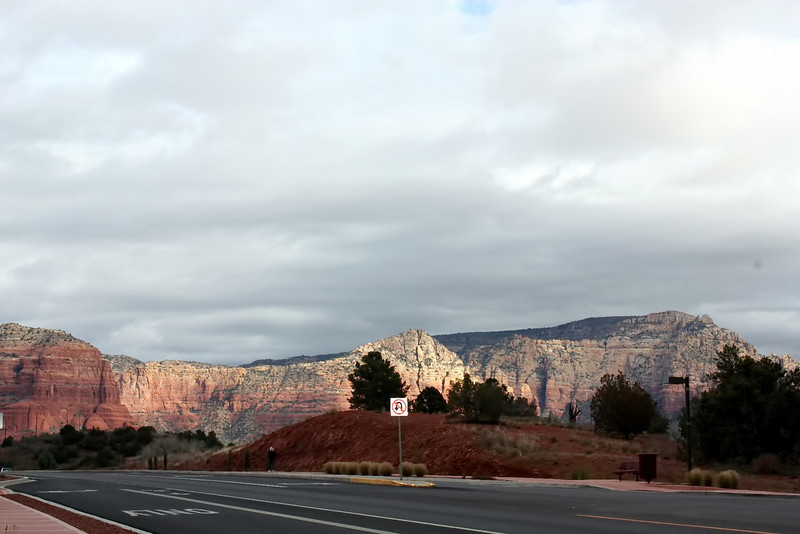 Sun shining on Sedona's rocks as we head out of town.