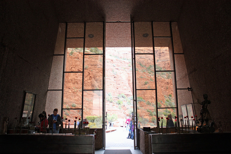 """Entrance to the Chapel of the Holy Cross. Designed by a student of Frank Lloyd Wright who designed the chapel as a """"monument to faith, but a spiritual fortress so charged with God, that it spurs man's spirit Godward""""."""