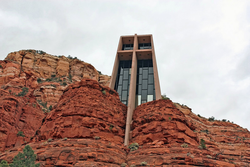 Chapel of the Holy Cross. Built into a 1,000 feet (305 meters) high red rock wall, the chapel is 250 feet (76 meters) tall. It's said to be built on a vortex. (Sedona, AZ)