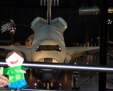 Flat Stanley in front of the Space Shuttle