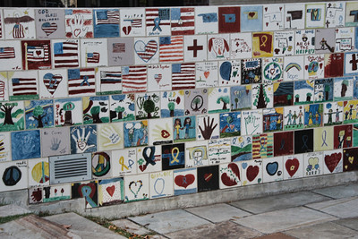 Tiles made my school children from all over the country after the bombing in Oklahoma City, OK.  On a wall in front of the museum.