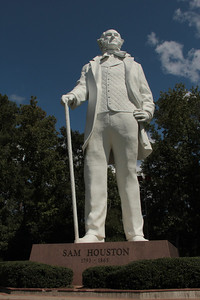 A Tribute to Courage the Sam Houston Statue was designed and constructed by artist David Adickes. He dedicated the statue to the City of Huntsville, TX on October 22,1994. It is the worlds tallest statue of an American Hero at 67 feet tall on a 10 foot sunset granite base.
