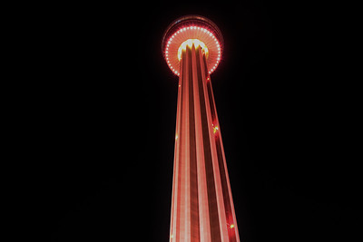 The Tower of the Americas lit up in pink for Breast Cancer Awareness Month.