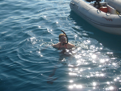 Debby getting ready to snorkel